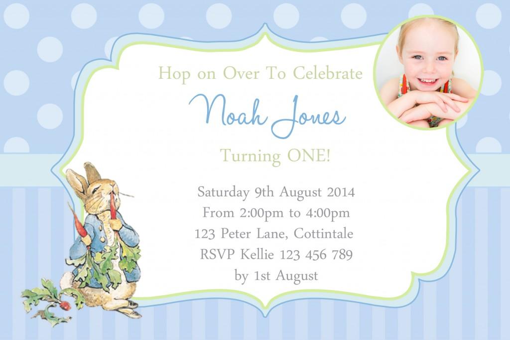 boys 1st birthday Peter Rabbit birthday party invitation