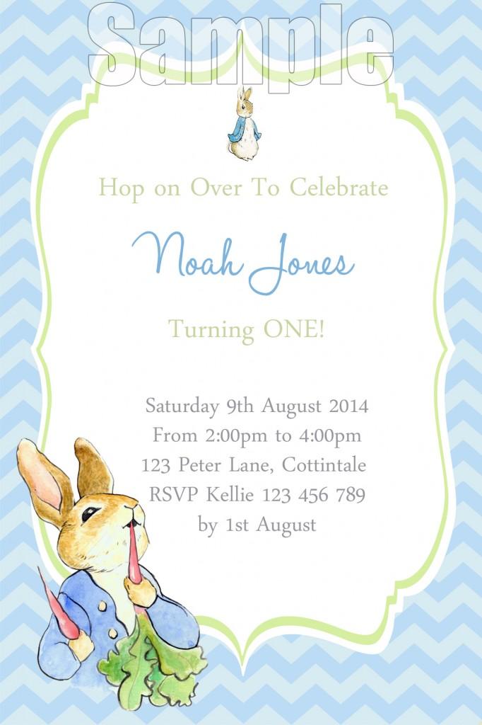 Boys Peter Rabbit 1st birthday party invitation