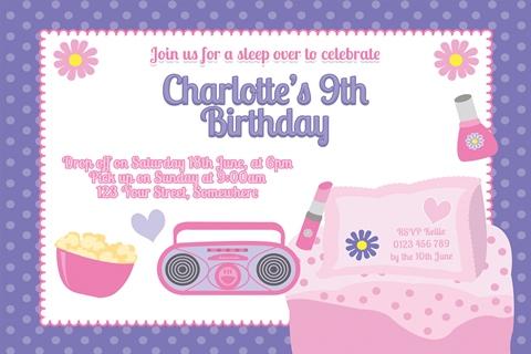 girls sleepover birthday party invitation