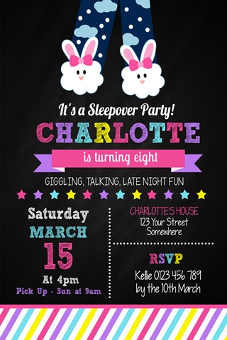 cute girls sleepover birthday party invitation sleep over invite