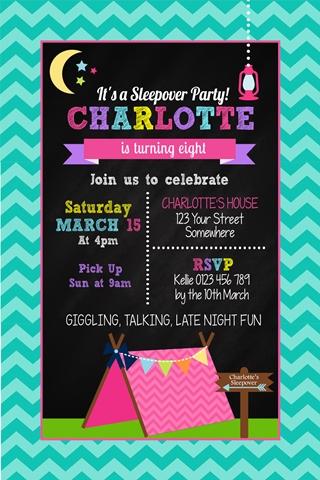 girls sleepover glamping tent invitation invite birthday party