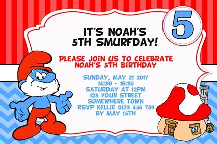 Smurf Classic kids birthday party invite