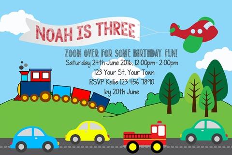 boys Transportation car train plane truck birthday party invitation
