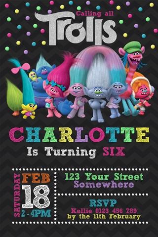 Trolls rainbow coloured personalised birthday party invitation