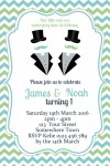 Twin Boys Little Man Invitation 1