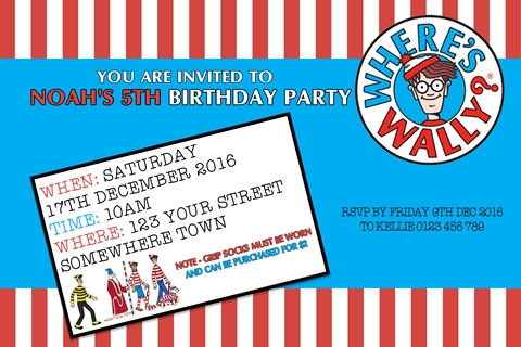 Where's Wally red blue themed personalised birthday party invite