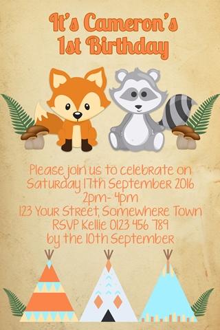 Wodland Animals and Teepee 1 wild one invite