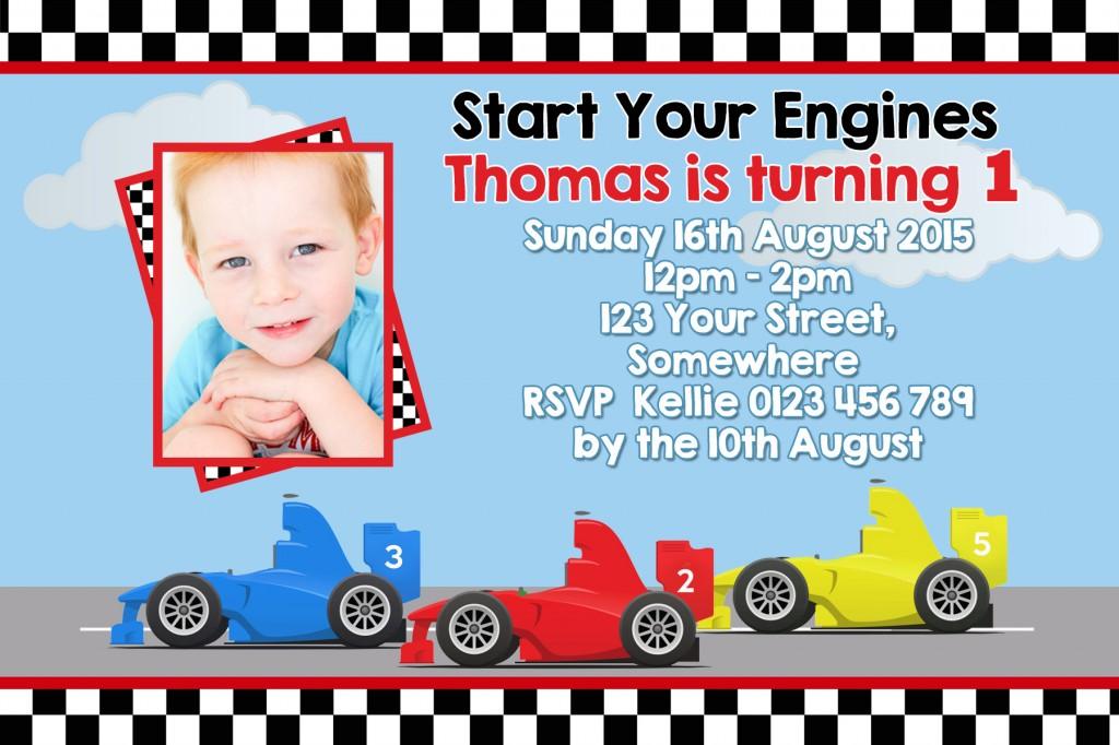 Racing Car birthday party invitation