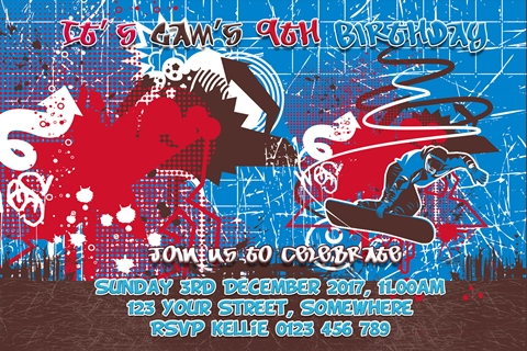 personalised graffiti birthday invites and invitations for pre teens and teenagers