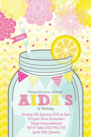 pink lemomade summer yellow girls birthday party invitation