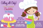 Girls cooking and baking birthday party invitation and invite pastel pink purple blue cake