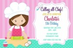 Girls cooking and baking birthday party invitation and invite pastel pink teal blue cake