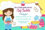 Girls cooking and baking birthday party invitation and invite pastel pink purple blue cake yellow