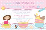 Girls cooking and baking birthday party invitation and invite pastel pink purple blue