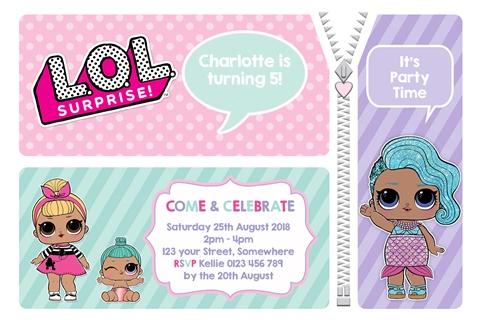 LOL Surprise doll invitations invites girls birthday party