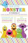little monster boys girls birthday invitation invite