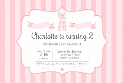 Ballet pink girls birthday invitation