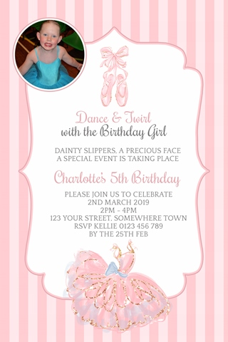 ballet tutu shoes invitations
