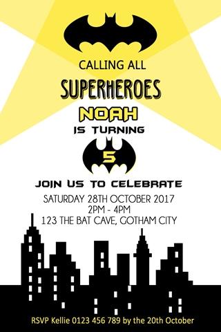batman boys birthday party invitation