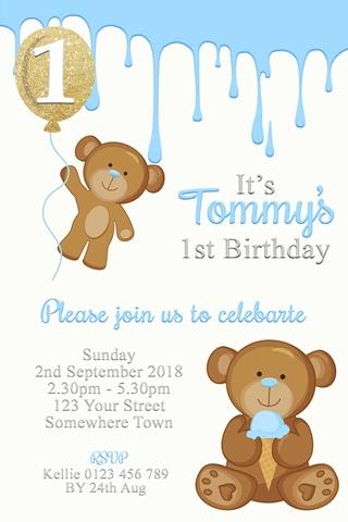 teddy Bear and icecream 1st first birthday invite invitation