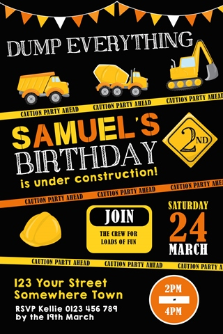 boys dumptruck construction party invitation