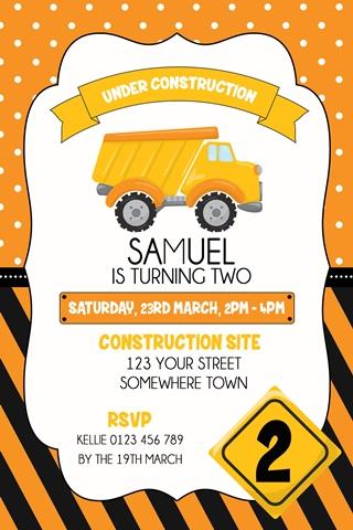 boys dump truck construction party invitation