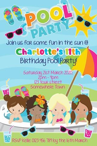 girls fun pool party birthday invitation invite