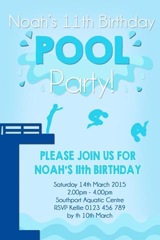 boys diving board pool party invitation invite