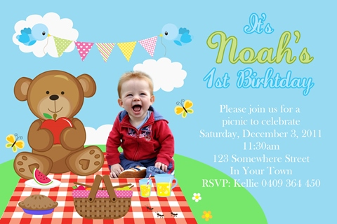 boys teddy bear picnic birthday party invitations