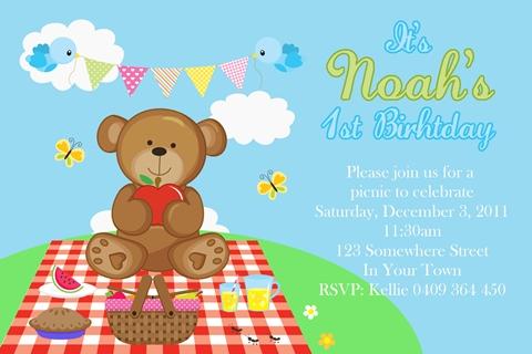 boys teddy bear picnic invites