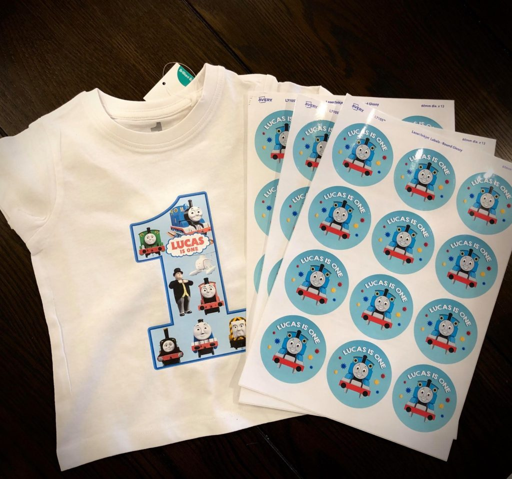 Personalised Thomas 1st Birthday shirt and Stickers