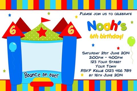 Boys Jumping Castle birthday party invitation invite