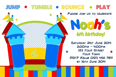 Boys Jumping Castle birthday party invitation