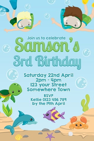 Boys under water sea snorkel birthday party invitation