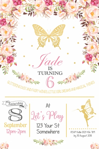 floral gold glitter butterfly and fairy invitation