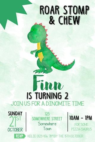 green watercolour dinosaur birthday party invitation