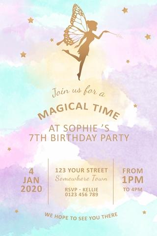 girls fairy rainbow watercolour party invitation invite