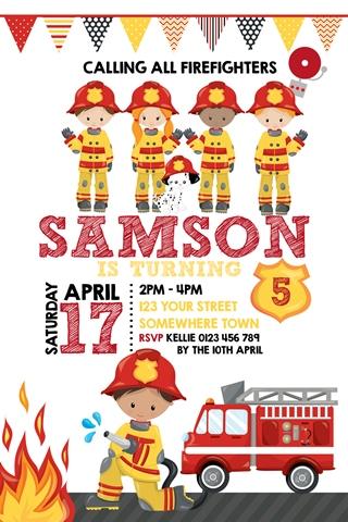 fireman fire fighter boy girl invite invitation