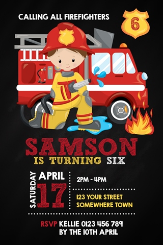 boy fireman invite invitation