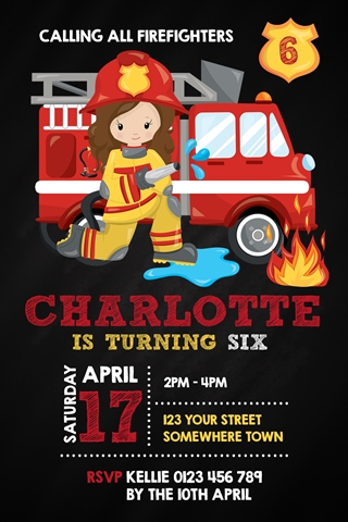 girl firefighter invitation