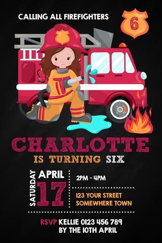 girl firefighter invite