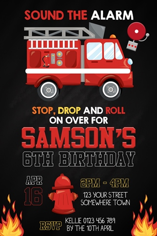 fireman fire truck invitation invite