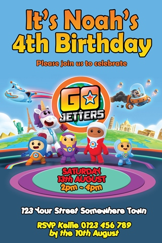 go jetters party invitation