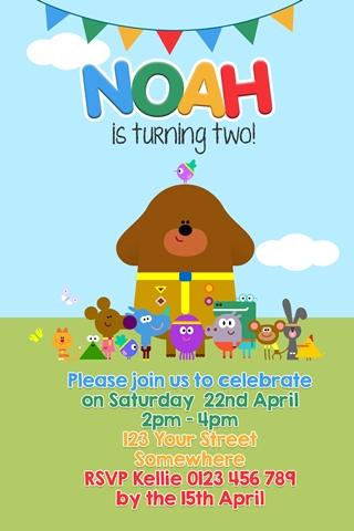 Hey duggee themed birthday party invitation invite