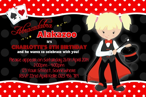 Girls Magic magician rabbit birthday party invitations