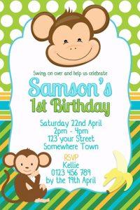 boys monkey green blue birthday party invitation