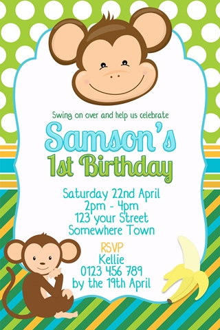 boys monkey green blue birthday party invitation