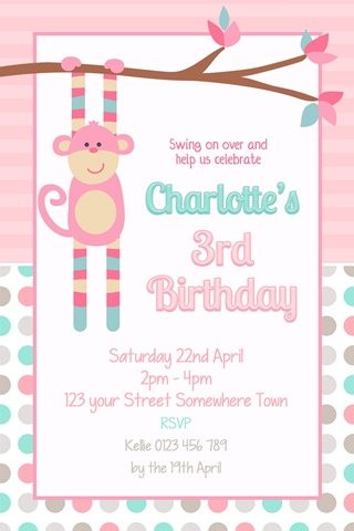 girls pink monkey birthday invitation