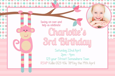 girls pink monkey birthday party invitation