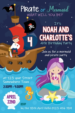 pirate and mermaid invitation